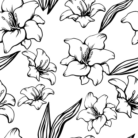 Seamless pattern with black lilies on a white background Vector