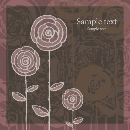 Pink gray abstract background with roses and text field-vector Stock Vector - 18597455