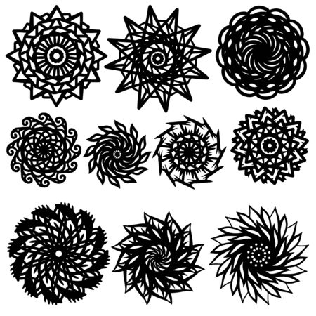 Tattoos set - isolated on white background Vector