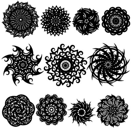 Tattoos set - isolated on white background - vector illustration Vector