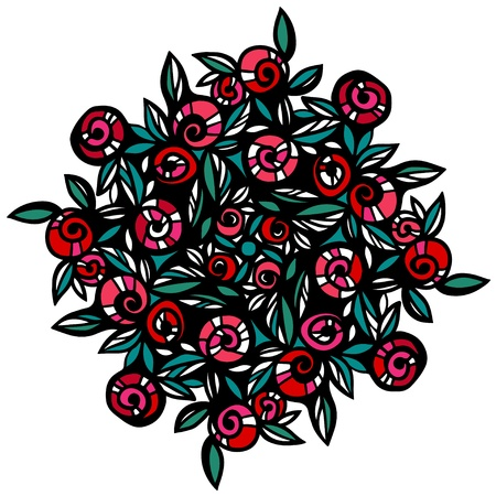 Color tattoo with roses isolated on white background Vector