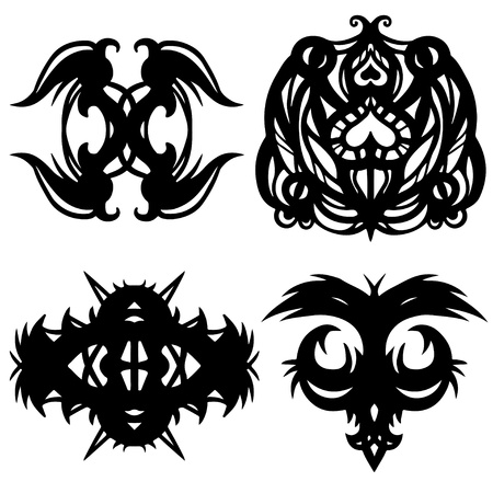 Tattoos set - isolated on white background Stock Vector - 18597442