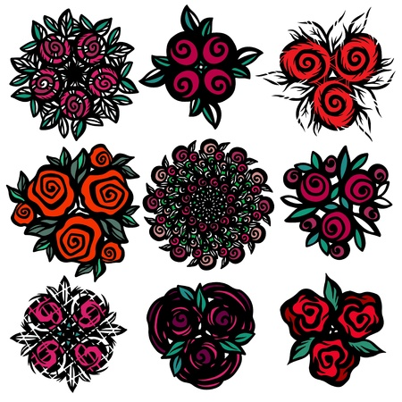 rose window: Colored floral tattoos set - isolated on white background - vector illustration Illustration