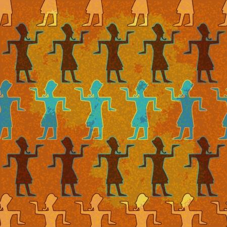 cartoon egyptian: Seamless pattern on Egypt to pharaoh - vector Illustration
