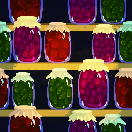 Seamless background with canned vegetables and fruits in pots - vector Illustration