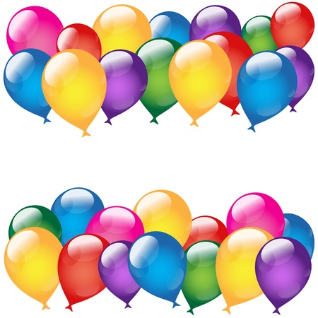 birthday balloons: Holiday background with balloon and text field on a white background-vector