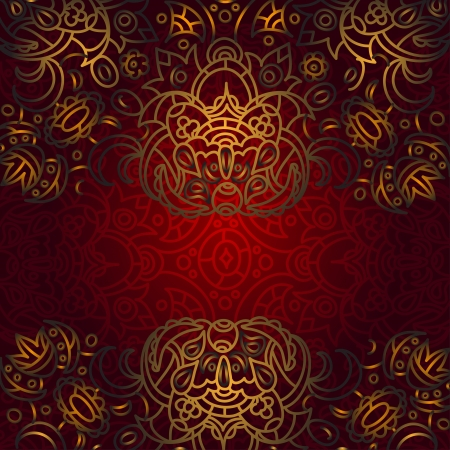 Red and gold oriental ornamental background - vector