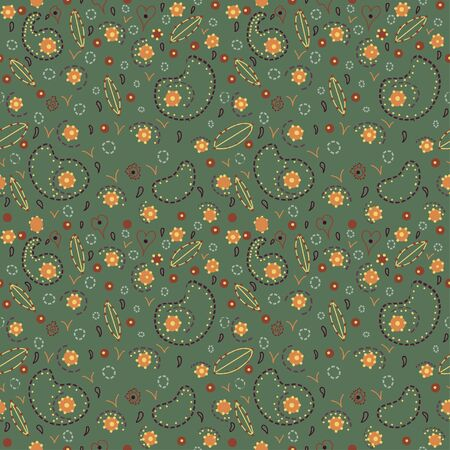Green seamless pattern endless background with flowers, hearts and abstract forms-vector Vector