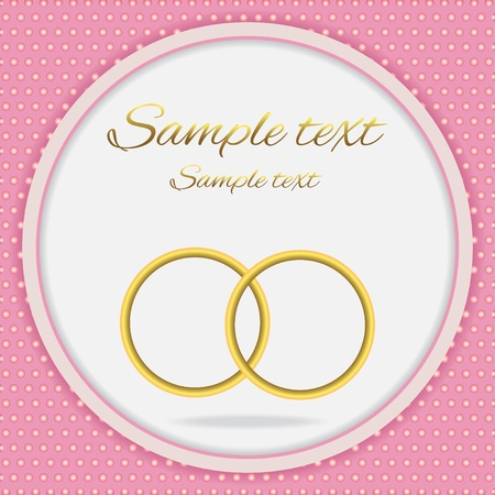plight: Pink wedding background with gold wedding rings and  text field-vector Illustration