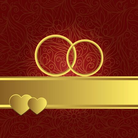 Red Ornamental Wedding Background With Gold Rings Hearts Ribbon And Text Field