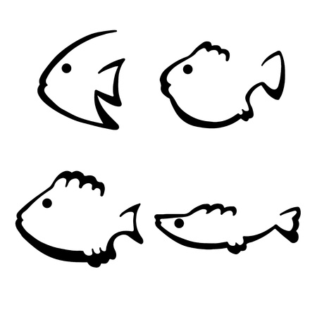 Isolated fantasy silhouettes fish set - vector Vector