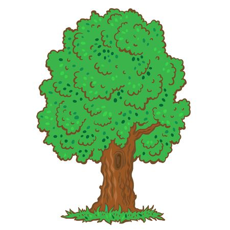 Green tree on a white background cartoon illustration-vector Vector