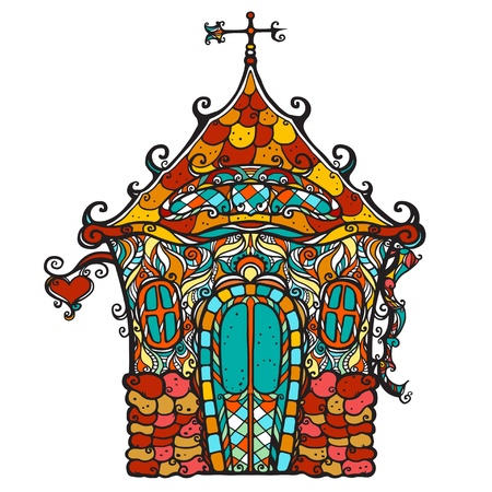 weathercock: Icon ornamental colorful fantasy house with black stripes and colored shapes-vector  Illustration