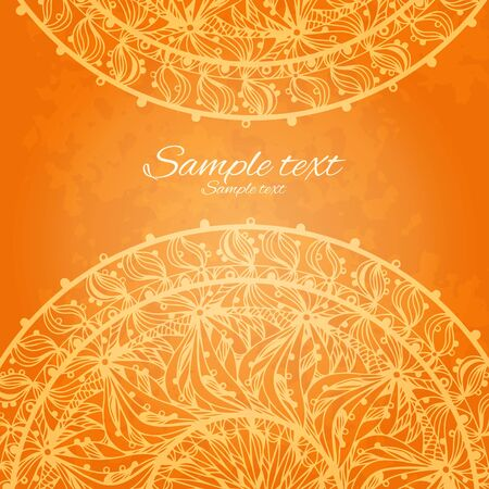 diameter: Vintage invitation decoration on orange background with lace ornament-vector