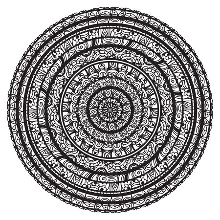 Black ornamental round lace on a white background-vector Stock Vector - 18649800