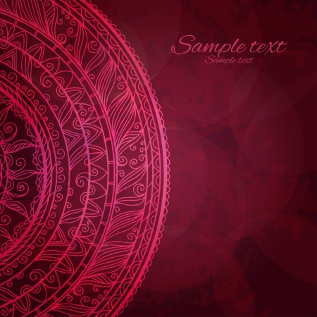 textfield: Vintage invitation decoration on red background with lace ornament-vector