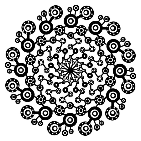 Black ornamental abstract round form on a white background-vector Vector
