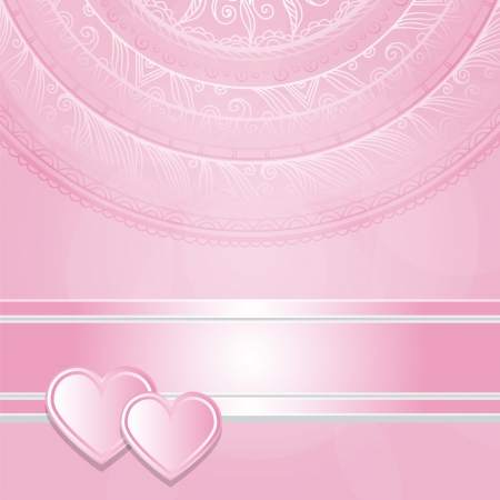 Wedding abstract pink background with hearts and text field - vector Stock Vector - 18649812