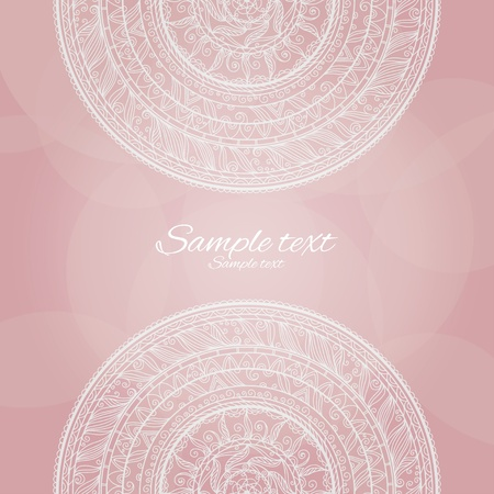 Vintage invitation decoration on pink background with lace ornament-vector Stock Vector - 18649829