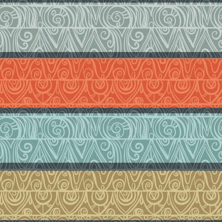 Abstract geometric seamless pattern with colored stripes and lace- vector Vector