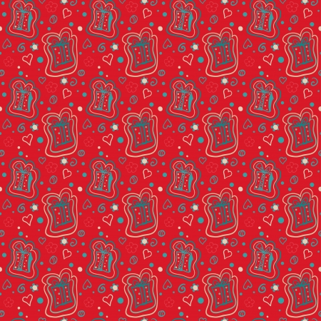 Holiday red seamless pattern endless background with gifts and hearts- vector Vector
