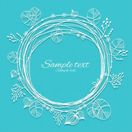 holiday blue background with white floral frame and place for text - vector Stock Vector - 18714527
