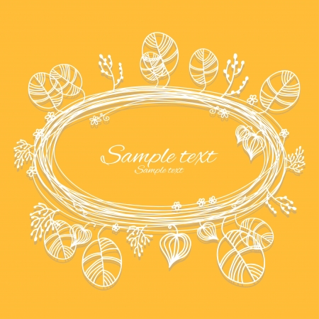 holiday yellow background with white floral frame and place for text - vector Stock Vector - 18714519