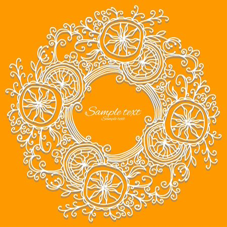 holiday yellow background with white floral frame and place for text - vector Stock Vector - 18714523