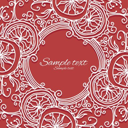 �oliday red background with white floral frame and place for text - vector Stock Vector - 18714517