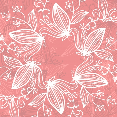 holiday pink background with white floral frame and place for text - vector Vector