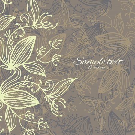 Brown decorative background with floral pattern - vector Stock Vector - 18714507