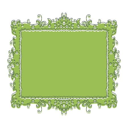 Green frame with floral pattern - vector Stock Vector - 18714520