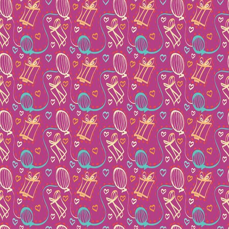 Holiday seamless pattern  with gifts, hearts and balloons- vector Vector