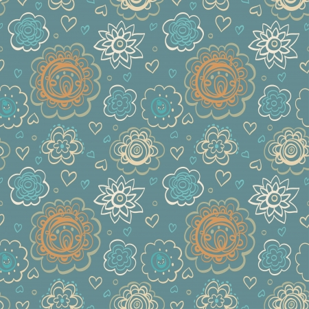 Vintage abstract seamless with  fantasy flowers and hearts- vector Stock Vector - 18714589