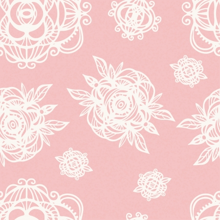 Vintage floral pink seamless pattern with white flowers - vector Vector