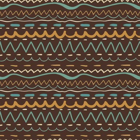 Seamless pattern with colored stripes on brown background  Stock Vector - 18791332