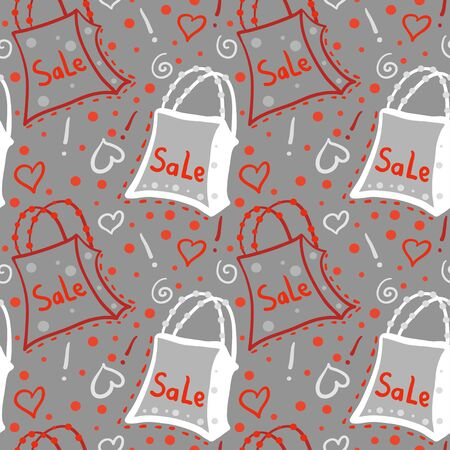 Seamless pattern with bags on grey background  Vector
