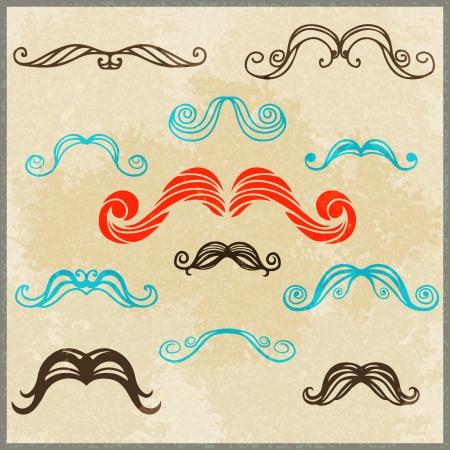 Set colorful silhouette various mustache
