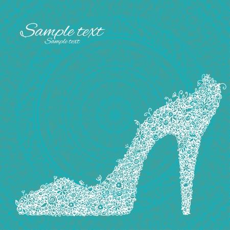 shoe sale: vintage zapatos florales fantas�a blancas sobre un fondo verde con campo de texto Vectores