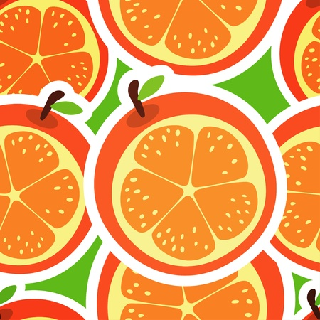 tangerine: Orange abstract seamless pattern with fruits