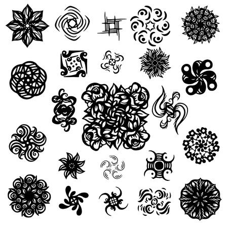 thistle: Tattoos set - isolated on white background  Illustration