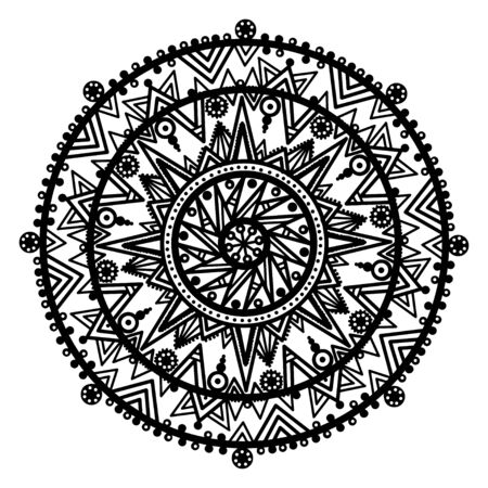 Black ornamental round lace on a white background  Vector