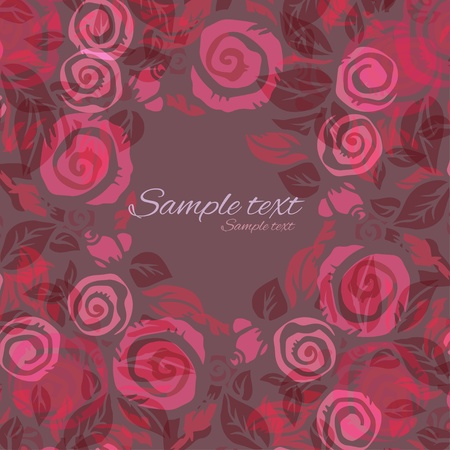 Holiday abstract pink background with roses and text field  Vector