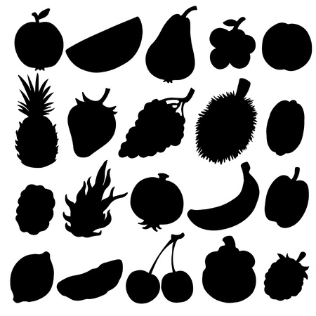 Set black silhouette various fruits on a white background Illustration