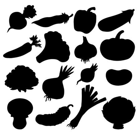 Set black silhouette various vegetables on a white background  Illustration