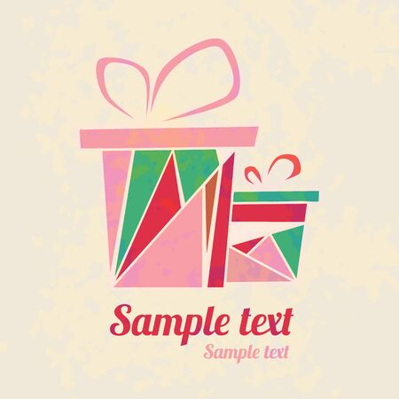 Vintage background with colorful  gift boxes, bows, ribbons and  text field  Vector
