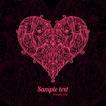 Abstract floral lace heart on a dark background  Vector