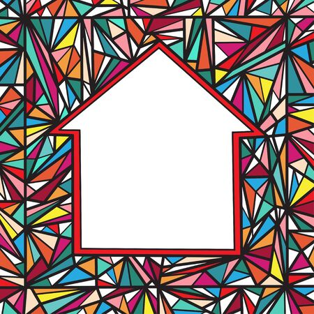 Abstract geometrical colored background with space for text  in the form of house  Vector