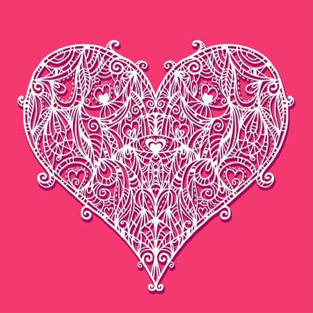 Abstract floral white lace heart on a red background Vector