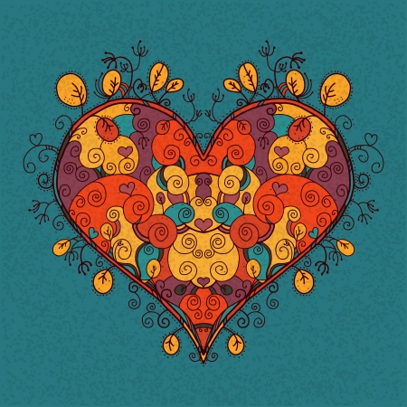Vintage abstract floral colored heart on a green background  Vector